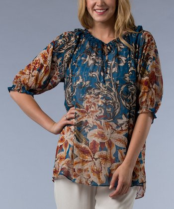 Teal Floral Arabesque Peasant Top