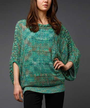 Emerald Marled Cape-Sleeve Sweater