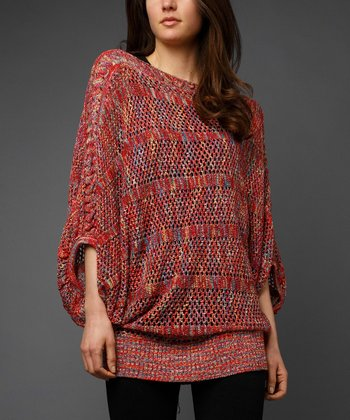 Red Marled Cape-Sleeve Sweater