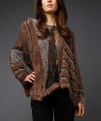 Brown Asymmetrical Dolman Sweater