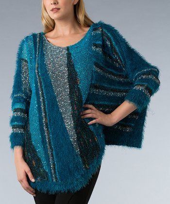 Teal Abstract Dolman Sweater