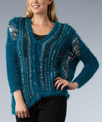 Teal Metallic V-Neck Cardigan