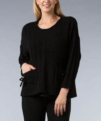 Black Double-Pocket Sweater - Women