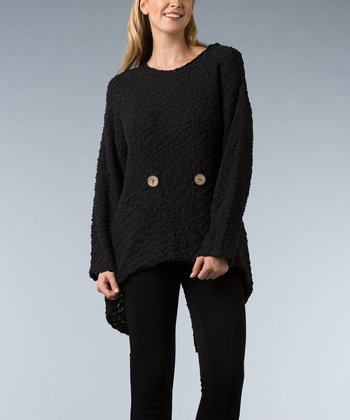 Black Button Hi-Low Sweater
