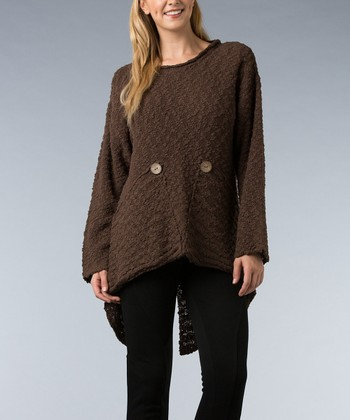 Brown Button Hi-Low Sweater