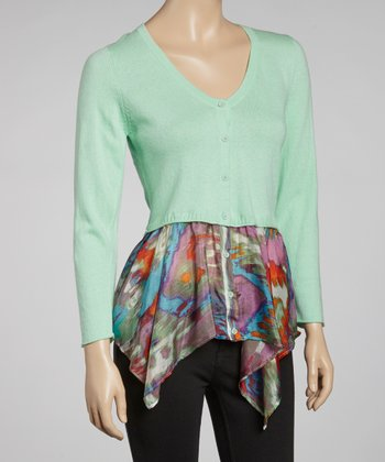 Mint & Green Abstract V-Neck Cardigan
