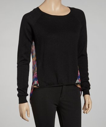 Black Abstract Crewneck Sweater