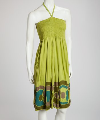 Green Circle Halter Dress