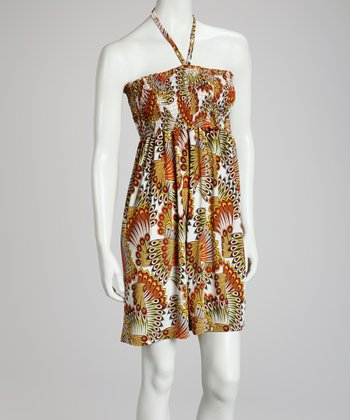 Orange Feather Halter Dress
