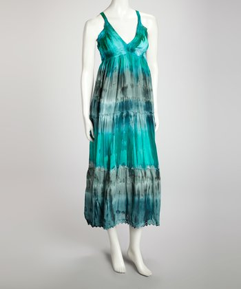 Blue Tie-Dye Maxi Dress