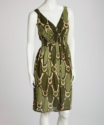 Green Oval V-Neck Dress