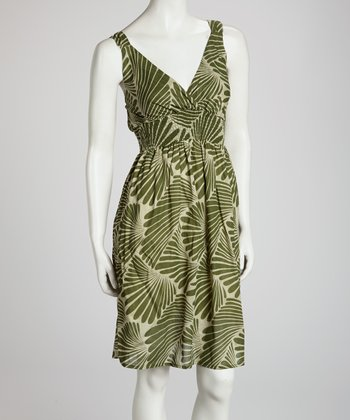 Green Palm V-Neck Dress