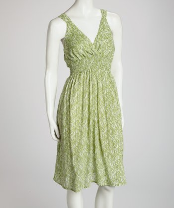 Green Grass V-Neck Dress