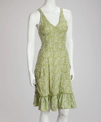 Green Grass Surplice Dress