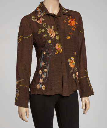 Brown Embroidered Button-Up