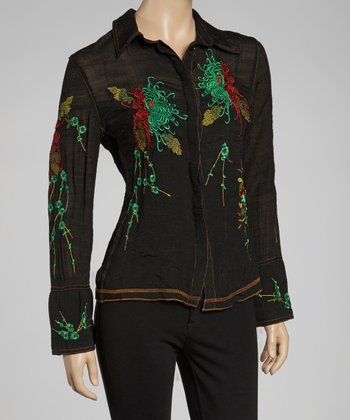 Black & Green Embroidered Button-Up