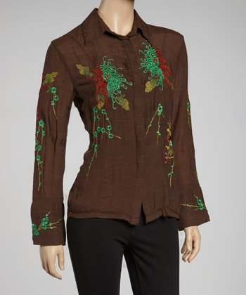 Brown & Green Embroidered Button-Up
