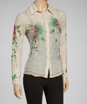 Cream & Green Embroidered Button-Up
