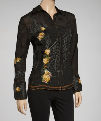 Black & Gold Embroidered Button-Up