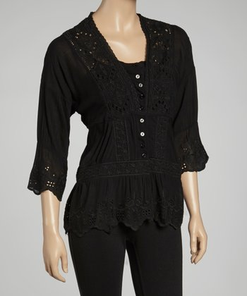 Black Embroidered Layered Top