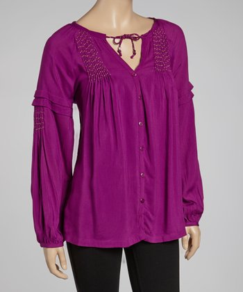 Plum Peasant Top