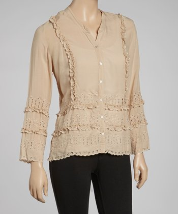Tan Eyelet Button-Up