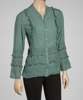 Seafoam Eyelet Button-Up