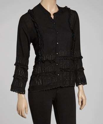 Black Eyelet Button-Up Top - Women