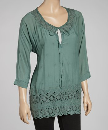 Seafoam Embroidered Top