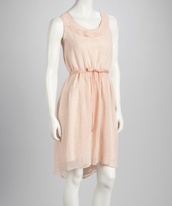 Blush & White Sash Dress