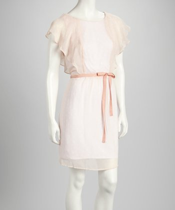 Blush & White Ruffle Sash Dress