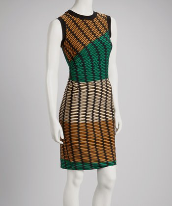 Emerald & Gold Color Block Shift Dress