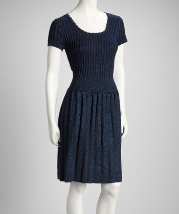 Navy	 Drop-Waist Short-Sleeve Dress