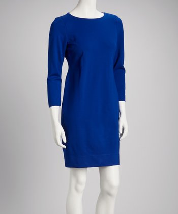 Azure Three-Quarter Sleeve Shift Dress