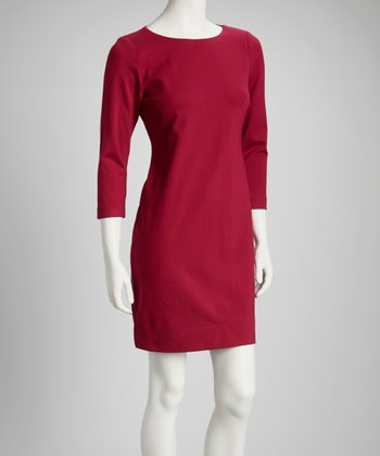 Fuchsia Gem Three-Quarter Sleeve Shift Dress