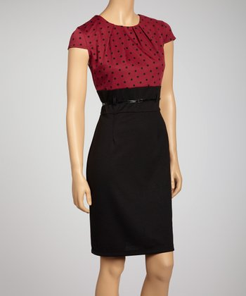 Berry & Black Polka Dot Belted Dress
