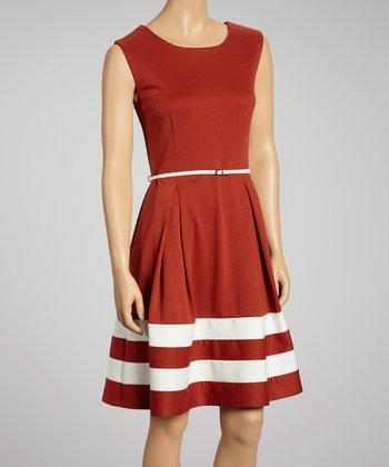 Brown & Ivory Stripe Belted Dress