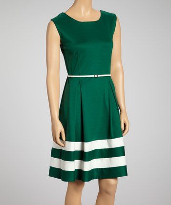 Green & Ivory Stripe Belted Dress