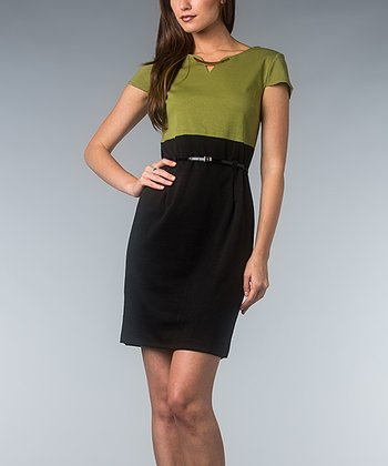 Shoot & Black Color Block Belted Dress