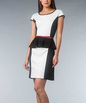 Black & Ivory Belted Peplum Dress