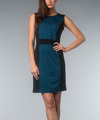 Teal & Black Geometric Dress