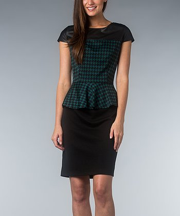 Green & Black Houndstooth Peplum Dress