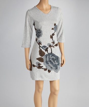Gray Rose Dress