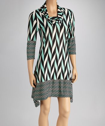 Green & Black Chevron Sidetail Dress
