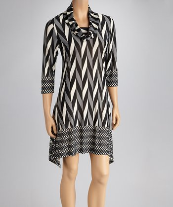 Black Zigzag Sidetail Dress