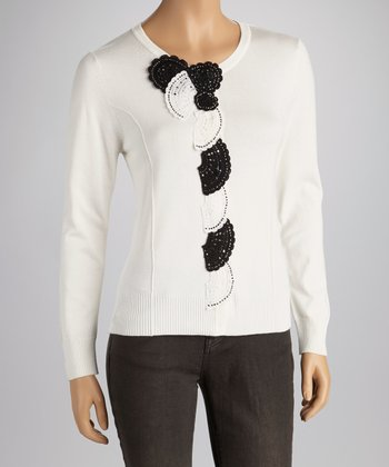 White Fan Embellished Sweater