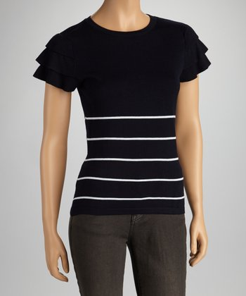Black Ruffle Stripe Short-Sleeve SweaterFc