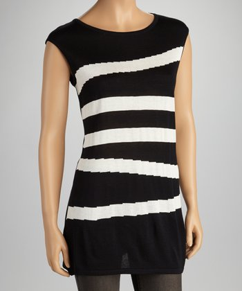 Black Stripe Sleeveless Sweater - Women