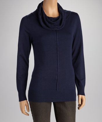 Denim Blue Cowl Neck Sweater