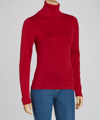 Red Ribbed Turtleneck Sweater - Women
